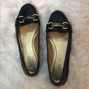 Coach Otissa Black Patent Leather Embossed Flats